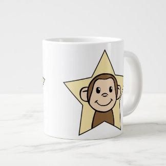 Cute Cartoon Clip Art Monkey with Grin Smile Star Giant Coffee Mug
