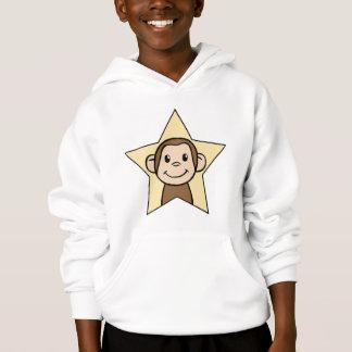 Cute Cartoon Clip Art Monkey with Grin Smile Star Hoodie