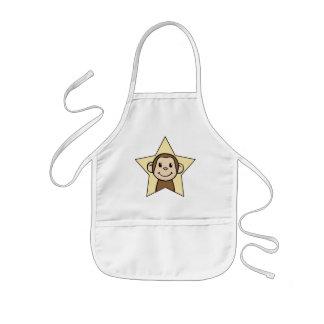 Cute Cartoon Clip Art Monkey with Grin Smile Star Kids' Apron