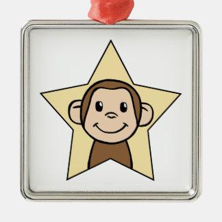 Cute Cartoon Clip Art Monkey with Grin Smile Star Metal Ornament