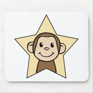 Cute Cartoon Clip Art Monkey with Grin Smile Star Mouse Pad