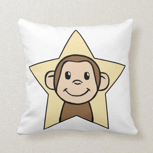 Cute Cartoon Clip Art Monkey with Grin Smile Star Pillow Zazzle