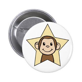 Cute Cartoon Clip Art Monkey with Grin Smile Star Pinback Button