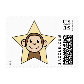 Cute Cartoon Clip Art Monkey with Grin Smile Star Postage