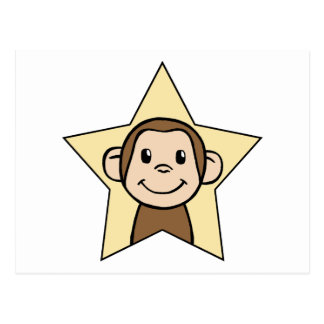 Cute Cartoon Clip Art Monkey with Grin Smile Star Postcard