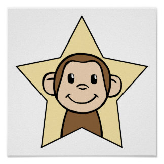 Cute Cartoon Clip Art Monkey with Grin Smile Star Poster