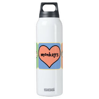 Cute Cartoon Clip Art Monkeys with Heart Love 16 Oz Insulated SIGG Thermos Water Bottle