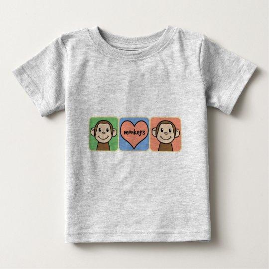 Cute Cartoon Clip Art Monkeys with Heart Love Baby T-Shirt