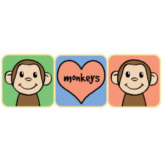 Cute Cartoon Clip Art Monkeys with Heart Love Cutout