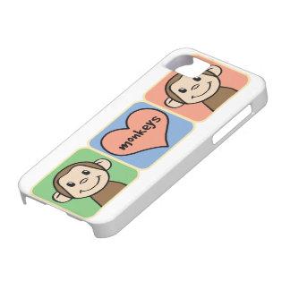Cute Cartoon Clip Art Monkeys with Heart Love iPhone SE/5/5s Case