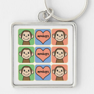 Cute Cartoon Clip Art Monkeys with Heart Love Keychain