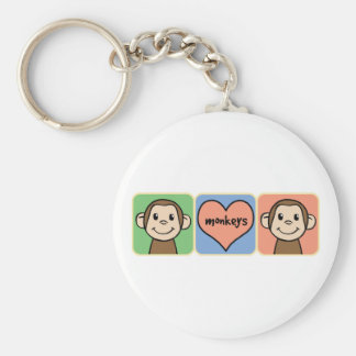 Cute Cartoon Clip Art Monkeys with Heart Love Key Chains