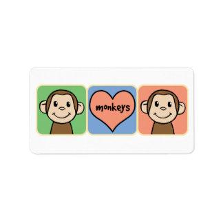 Cute Cartoon Clip Art Monkeys with Heart Love Personalized Address Label