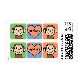 Cute Cartoon Clip Art Monkeys with Heart Love Postage