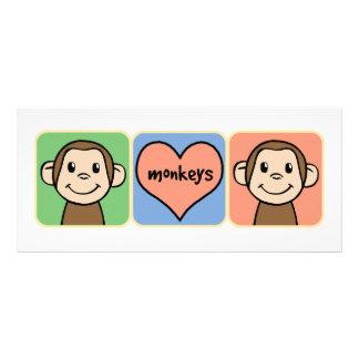 Cute Cartoon Clip Art Monkeys with Heart Love Rack Card Template