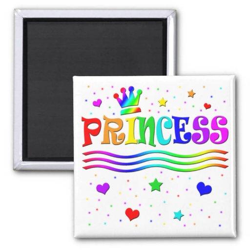 Cute Cartoon Clip Art Rainbow Princess Tiara 2 Inch Square Magnet