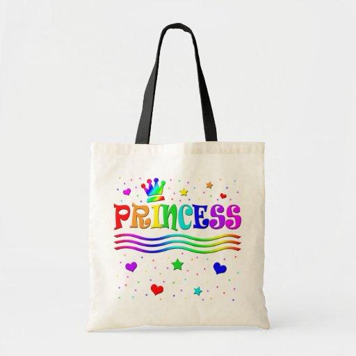 Cute Cartoon Clip Art Rainbow Princess Tiara Budget Tote Bag