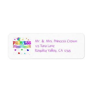 Cute Cartoon Clip Art Rainbow Princess Tiara Label