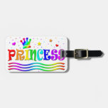 Cute Cartoon Clip Art Rainbow Princess Tiara Travel Bag Tag