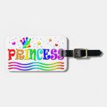 Cute Cartoon Clip Art Rainbow Princess Tiara Tag For Luggage