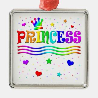 Cute Cartoon Clip Art Rainbow Princess Tiara Metal Ornament