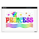 "Cute Cartoon Clip Art Rainbow Princess Tiara Skin For 15"" Laptop"