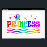 "Cute Cartoon Clip Art Rainbow Princess Tiara Skin For 15&quot; Laptop<br><div class=""desc"">Cartoon text clip art with the word Princess in big colorful letters surrounded by hearts,  stars,  streamers,  waves and a crown! A girlie design with a rainbow of colors!</div>"