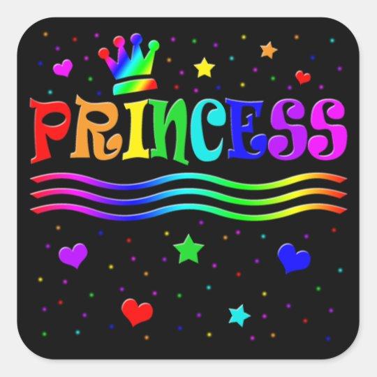 Cute Cartoon Clip Art Rainbow Princess Tiara Square Sticker