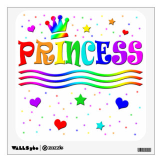 Cute Cartoon Clip Art Rainbow Princess Tiara Wall Decal