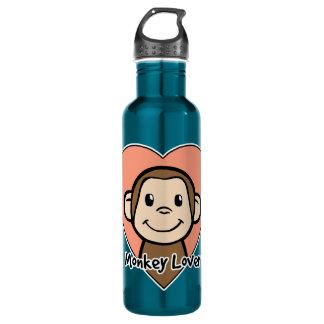 Cute Cartoon Clip Art Smile Monkey Love in Heart 24oz Water Bottle