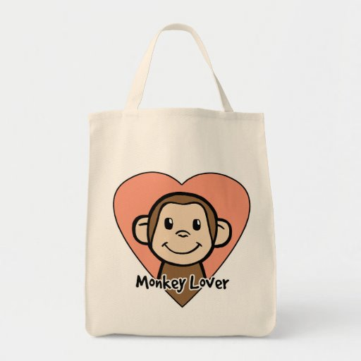 Cute Cartoon Clip Art Smile Monkey Love in Heart Grocery Tote Bag