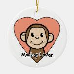 Cute Cartoon Clip Art Smile Monkey Love in Heart Ceramic Ornament