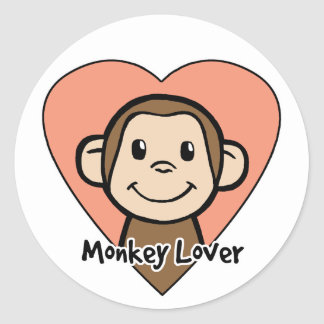 Cute Cartoon Clip Art Smile Monkey Love in Heart Classic Round Sticker