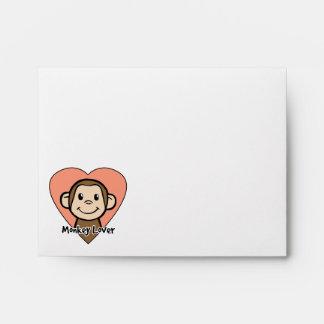 Cute Cartoon Clip Art Smile Monkey Love in Heart Envelope