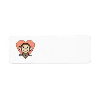 Cute Cartoon Clip Art Smile Monkey Love in Heart Return Address Label