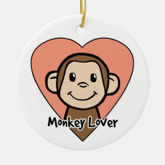 Cute Cartoon Clip Art Smile Monkey Love in Heart Double-Sided Ceramic Round Christmas Ornament