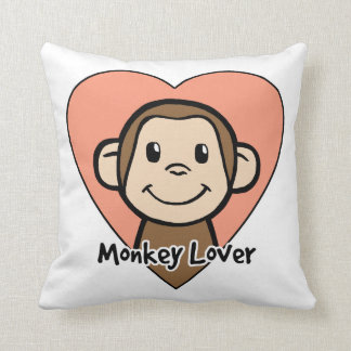 Cute Cartoon Clip Art Smile Monkey Love in Heart Pillow