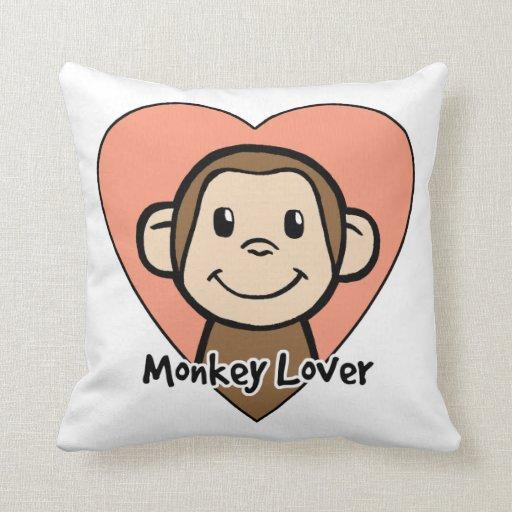 Cute Cartoon Clip Art Smile Monkey Love in Heart Pillow Zazzle