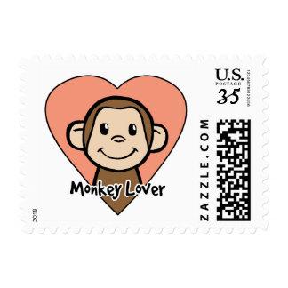 Cute Cartoon Clip Art Smile Monkey Love in Heart Postage