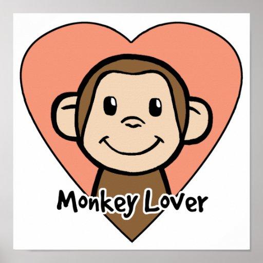 Cute Cartoon Clip Art Smile Monkey Love in Heart Poster