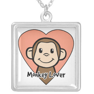 Cute Cartoon Clip Art Smile Monkey Love in Heart Silver Plated Necklace