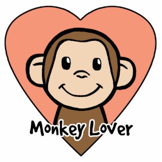 Cute Cartoon Clip Art Smile Monkey Love in Heart Statuette