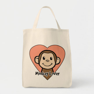 Cute Cartoon Clip Art Smile Monkey Love in Heart Tote Bag