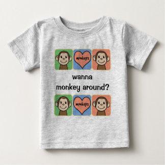 Cute Cartoon Clip Art Wanna Monkey Around? Baby T-Shirt