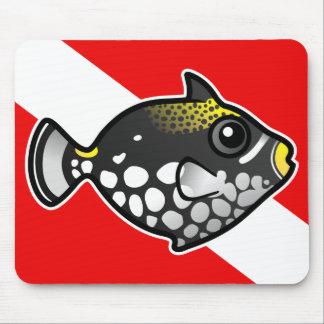 Cute Cartoon Clown Triggerfish Dive Flag Mouse Pad