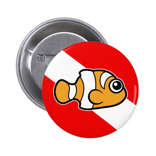 Cute Cartoon Clownfish Dive Flag 2 Inch Round Button