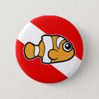 Cute Cartoon Clownfish Dive Flag Pinback Button