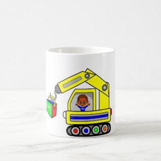 cute cartoon construction truck with boy inside classic white coffee mug