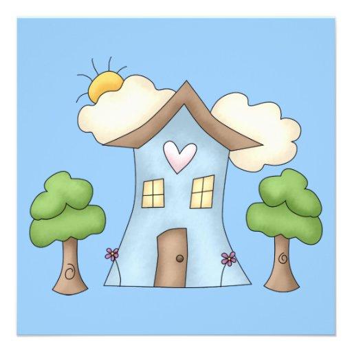Cute Cartoon Country House Tree Scene Custom Invites