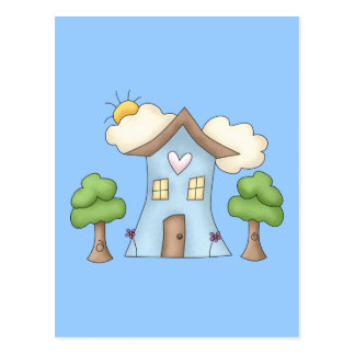 Cute Cartoon Country House Tree Scene Postcard
